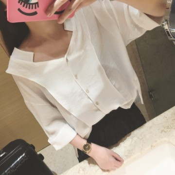 TE7593SSCL Beautiful v neck white chiffon shirt