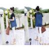 TE8209HJYS Street fashion denim splicing chiffon short sleeve shirt
