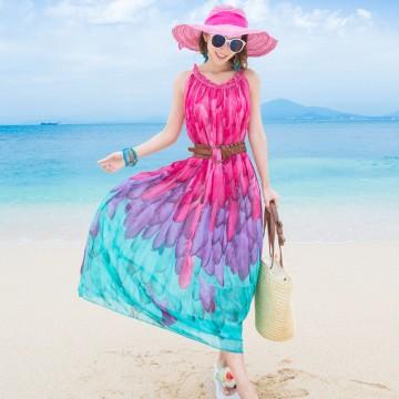 TE8655MSJ Bohemia gradient print chiffon beach dress