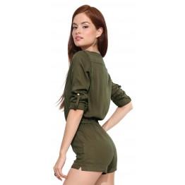TE8703HRCL Europe fashion vintage drawstring waist slim jumpsuit