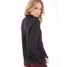 TE8712HRCL Europe fashion lotus leaf stand collar chiffon shirt