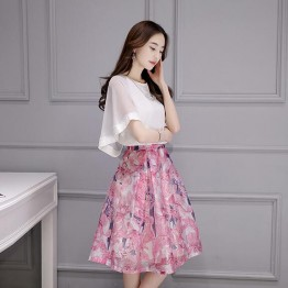 TE8730JXM Temperament batwing sleeve tops with print organza skirt