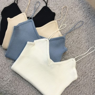 TE8921HMFS Korean fashion pure color simple round neck knitting joker vest