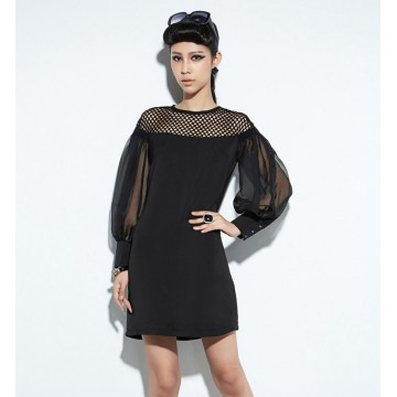 TE8921WMSS Hollow out should splicing chiffon puff sleeve fashion dress