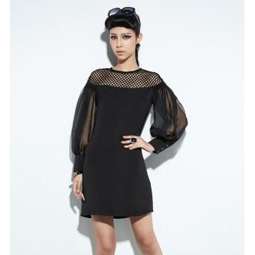TE8921WMSS Hollow out should splicing chiffon puff sleeve fashion dress