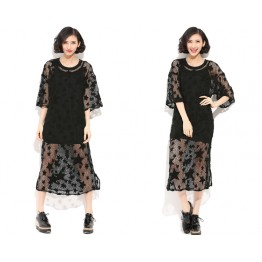 TE9027AYY Europe fashion loose hollow out lace two pieces dress