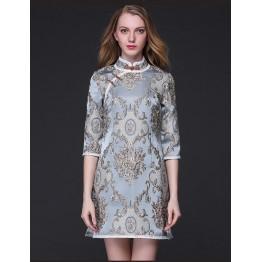 TE9097LLYG Vintage palace jacquard weave stand collar slit cheongsam dress