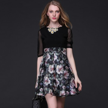 TE9100LLYG Debutant temperament elegant print splicing A-line dress