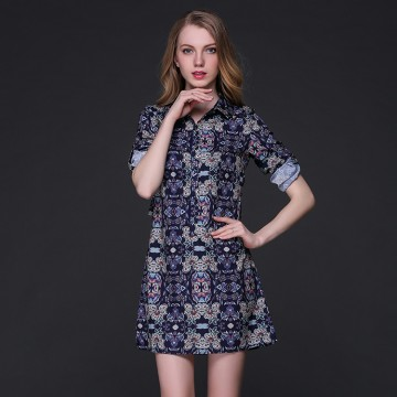 TE9101LLYG New style vintage lapel slim silk print dress