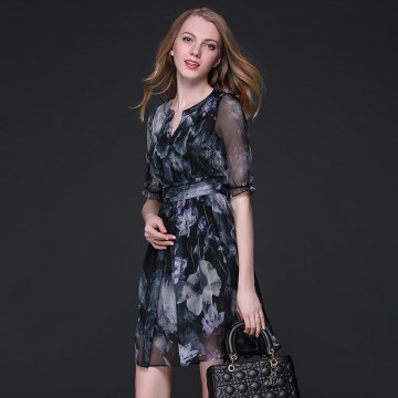 TE9102LLYG Elegant v neck chiffon print slim waist dress