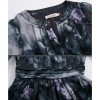 TE9102LLYG Elegant v neck chiffon print slim waist dress