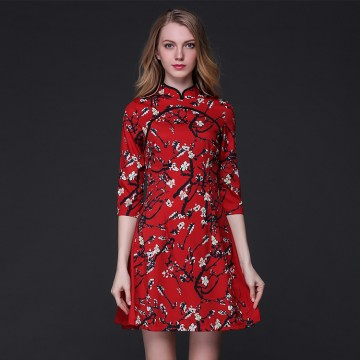 TE9103LLYG Europe fashion print half sleeve A-line dress