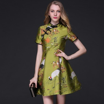 TE9105LLYG Vintage gentlewomen chinese collar jacquard weave A-line dress