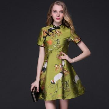 TE9105LLYG Vintage gentlewomen chinese collar jacquard weave A-line dress