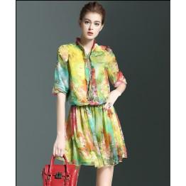 TE9106LLYG Elegant silk print bouffant temperament stand collar dress