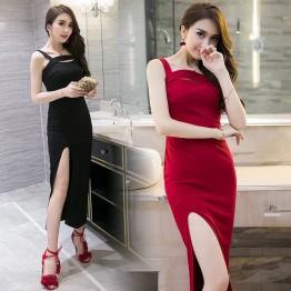 TE9247WMSS Spring fashion sexy gallus split long party formal dress