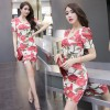 TE9256WMSS Vintage flower print cross v neck bubble sleeve slim dress