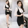 TE9270WMSS New style stand collar hollow out sexy slim splicing fake two piece dress