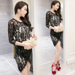 TE9271WMSS New style sexy club transparent crochet lace tight hip dress