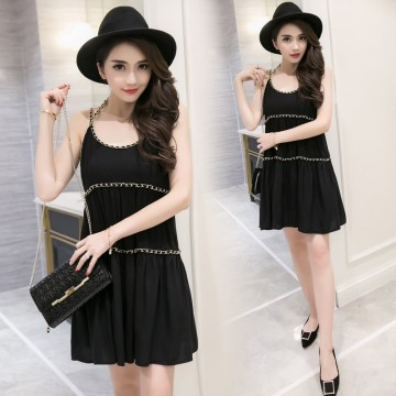 TE9272WMSS Summer new fashion chains halter a line bouffant dress