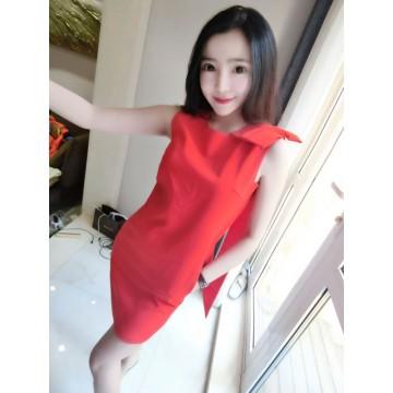 TE939ZYWL Fashion bowknot shoulder slim dress