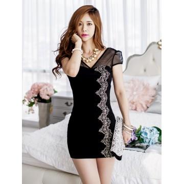 TE9513ATSS Sexy club V neck grenadine splicing slim dress