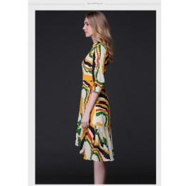 TE9643LLYG Europe fashion abstract geometry print irregular wide hem dress