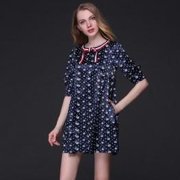 TE9645LLYG Europe fashion temperament crown print large size dress