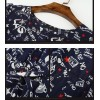TE9646LLYG Temperament letters print half sleeve slim silk dress