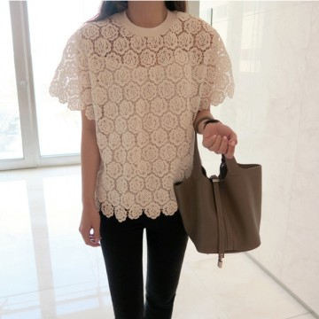 TE9774WJYS New style debutant rose embroidery lace shirt