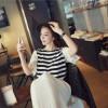 TE9940WJYS Lattice net sleeve stripes round neck top