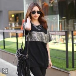 TE9787WJYS Bling bling stripe pattern loose long t-shirt