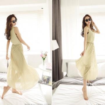 TE9788WJYS Korean style drape slim long dress