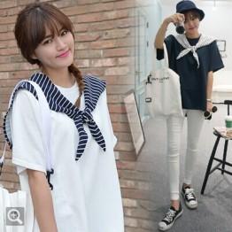 TE9790WJYS Navy style stripes lacing collar round neck tops