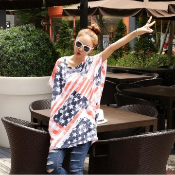 TE9862AYY Korean fashion union jack print loose t-shirt