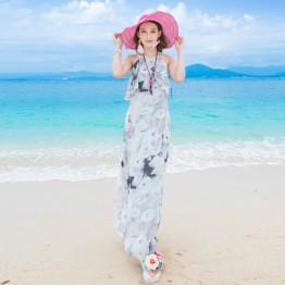 TE9864MSJ Bohemia sleeveless flouncing slim beach maxi dress