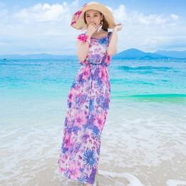 TE9865MSJ Bohemia gallus shivering print beach maxi dress