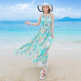 TE9866MSJ Bohemia beach chiffon print maxi dress with belt