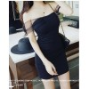 TE9895YBF Thailand trendy brand mesh flat shoulder slim dress