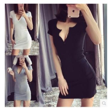 TE9904YBF Sexy rib cotton slim backing dress