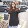 TE9905WJYS Summer new style preppy style lace splicing shirt