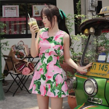 TE9906WJYS Tropical fruit shivering fresh slim sweet dress