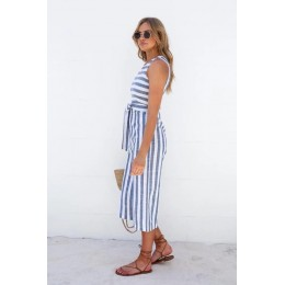 5260 hot sale high fashion sleeveless stripes jumpsuit