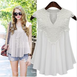 9809 chiffon sleeveless V-neck spliced lace pleated chiffon blouse