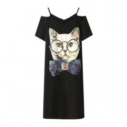 870 loose cartoon printing temperament off shoulder dress