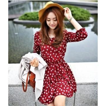 TE9021AYY Japanese Fashion Street Snap Slim Waist Dress