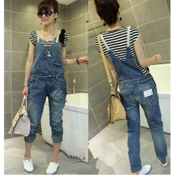 TE8007MNH Good-looking Thin Denim suspender trousers