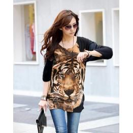 TE5799HJFS Tiger Head Printing Loose Large Size T-shirt