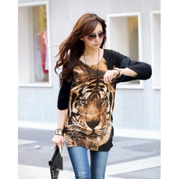 TE5799HJFS Tiger Head Printing Loose Large Size T-shirt