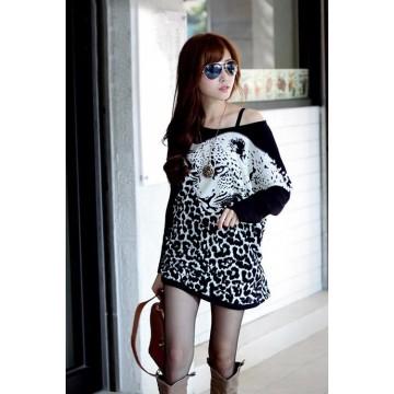 TE5940HJFS Leopard Printing Loose Large Size T-shirt